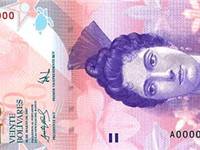 The 20 Venezuelan bolívar fuerte banknote featuring a portrait of Luisa C ceres de Arismendi.