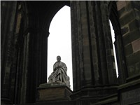 Sir Walter Scott's statue at his memorial in Edinburgh