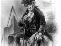 The fictional &quot;Diedrich Knickerbocker&quot; from the frontispiece of A History of New-York