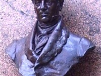 A bust of Washington Irving in Irvington, New York, not far from Sunnyside.