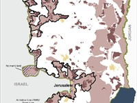 Map of West Bank settlements and closures as of January 2006, prepared by the United Nations Office