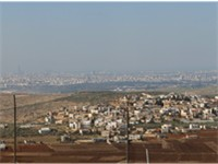 Panoramic view toward Tel Aviv from the Settlement Peduel in the west bank, the Green line passes le