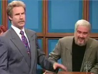 "Ferrell (as Alex Trebek, left) and Darrell Hammond (as Sean Connery, right) in the SNL sketch ""Celeb"