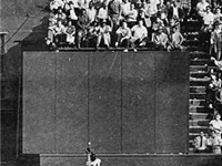 The Catch: Willie Mays hauls in Vic Wertz's drive at the warning track in the 1954 World Series.
