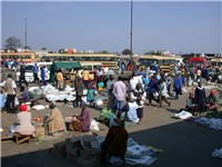 A Zimbabwe market place and bus terminus