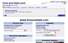 timeanddate.com Homepage Screenshot