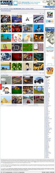 freeaddictinggames.com Homepage Screenshot