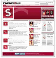 privatecash.com Homepage Screenshot