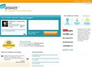 justanswer.com Homepage Screenshot