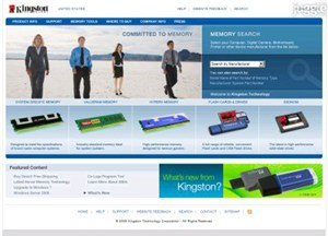 kingston.com Homepage Screenshot