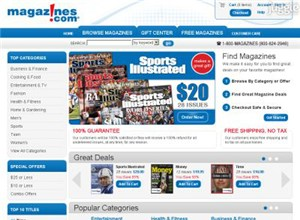 magazines.com Homepage Screenshot
