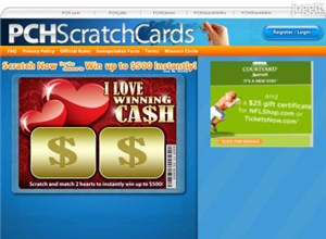 pchscratchcards.com Homepage Screenshot