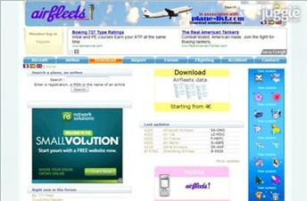 airfleets.net Homepage Screenshot