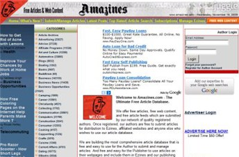 amazines.com Homepage Screenshot