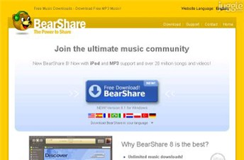 bearshare.com Homepage Screenshot