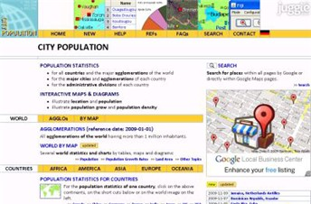 citypopulation.de Homepage Screenshot