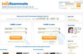 easyroommate.com Homepage Screenshot