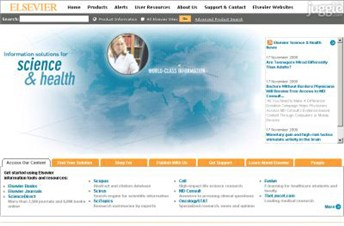 elsevier.com Homepage Screenshot