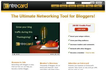 entrecard.com Homepage Screenshot