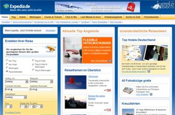 expedia.de Homepage Screenshot