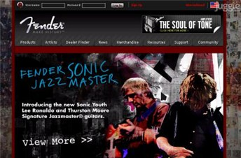 fender.com Homepage Screenshot