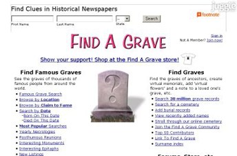 findagrave.com Homepage Screenshot