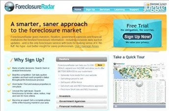 foreclosureradar.com Homepage Screenshot