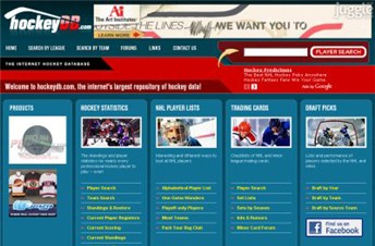 hockeydb.com Homepage Screenshot