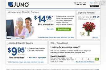 juno.com Homepage Screenshot