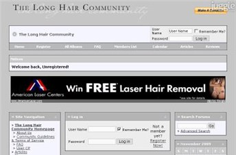 longhaircommunity.com Homepage Screenshot