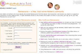 mamasource.com Homepage Screenshot