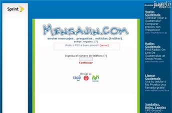 mensajin.com Homepage Screenshot