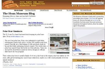 museumofhoaxes.com Homepage Screenshot