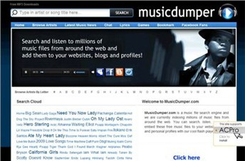 musicdumper.com Homepage Screenshot