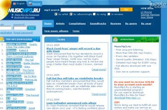 musicmp3.ru Homepage Screenshot