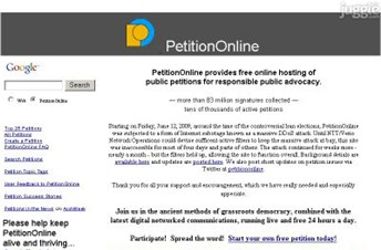 petitiononline.com Homepage Screenshot