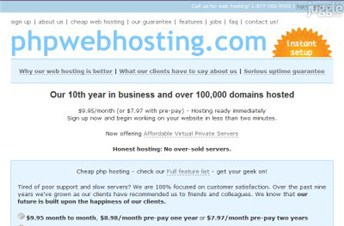 phpwebhosting.com Homepage Screenshot