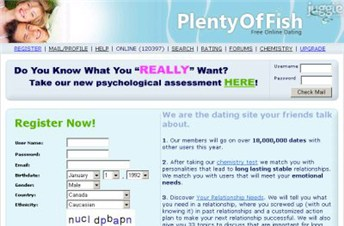 plentyoffish.com Homepage Screenshot