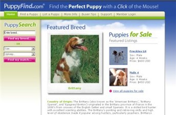 puppyfind.com Homepage Screenshot