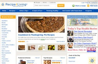 recipe4living.com Homepage Screenshot