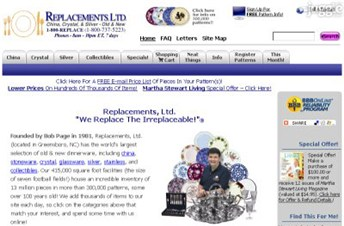 replacements.com Homepage Screenshot