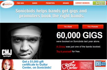 sonicbids.com Homepage Screenshot