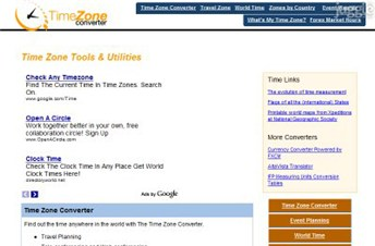 timezoneconverter.com Homepage Screenshot