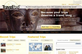 travelpod.com Homepage Screenshot