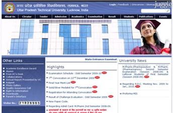 uptu.ac.in Homepage Screenshot