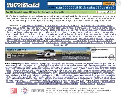 mp3raid.com Homepage Screenshot