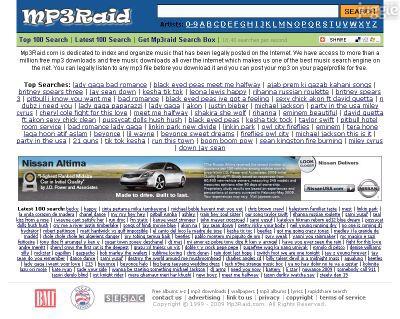 mp3raid.com Homepage Screenshot
