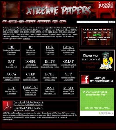 xtremepapers.net Homepage Screenshot