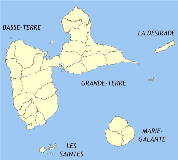 Islands and communes of the guadeloupe departement