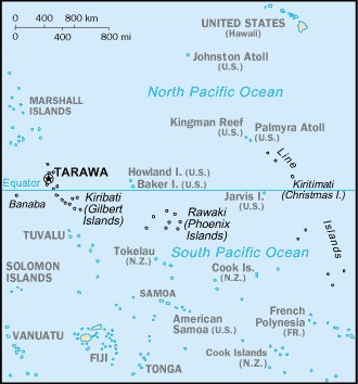 pacific ocean map with islands  Map of the central Pacific